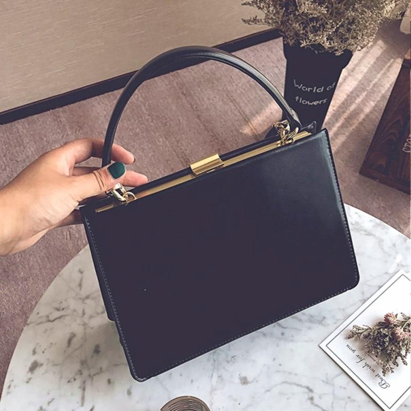 Burminsa Vintage Metal Clasp Women Handbags Unique Design Female Shoulder Bags High Quality Ladies Messenger Bags 2019 Black Red