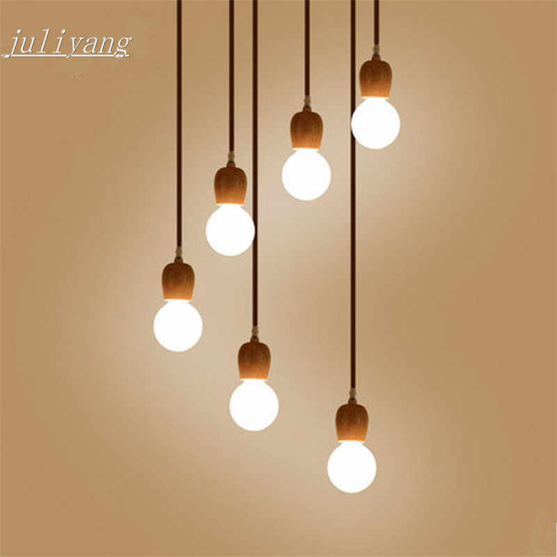 juliyang wood pendant lamp holder fix with G80 led bulb for shop dinner room restaurant hunging light  220v 110v