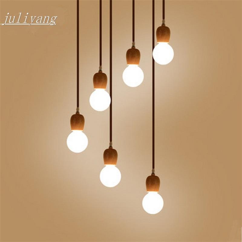 Juliyang Wood Pendant Lamp Holder Fix With G80 Led Bulb For Shop Dinner Room Restaurant Hunging Light  220v 110v