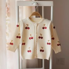 Girls Cardigans Baby Girl Clothes Cherry Pattern Girls Sweaters Kids Cardigan Autumn Winter Baby Knitted Sweater for Girls