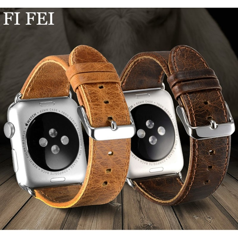 купить FI FEI Luxury Retro Band Strap Leather Bracelet Watchbands For Apple Watch Band Series 1 2 3 38mm 42mm Strap Man Watch Band по цене 550.78 рублей