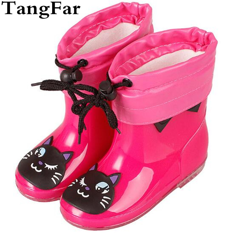 Children's Rubber Rain Boots Kids PVC Baby Girls Cute Cat Plus Cotton Rain Shoes Pink Waterproof Ankle Boots Size 24-28