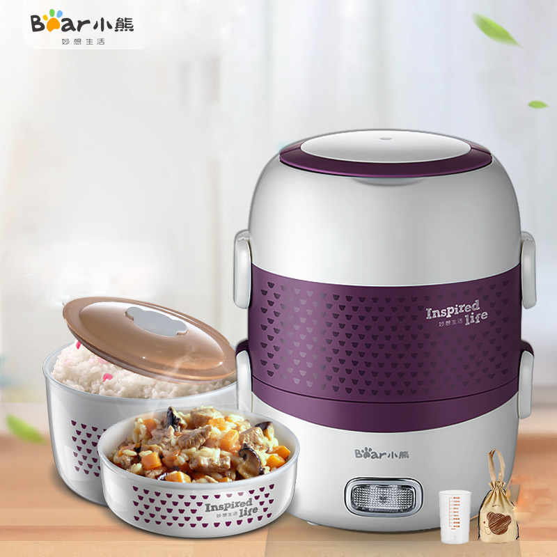 Bear DFH-S267 Electric Lunch Box Ceramic Liner Double Seal Keep Fresh Steamer Home Rice Cooker Portable Lunch Box 1.6L Capacity raccoon electric lunch box independent double layer heat the lunch box stainless steel liner plug in hot lunch box steamer