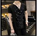 NEW ! Korean summer men Slim small shirt hairstylist non-mainstream Sequined fake two short-sleeved t-shirt singer costumes