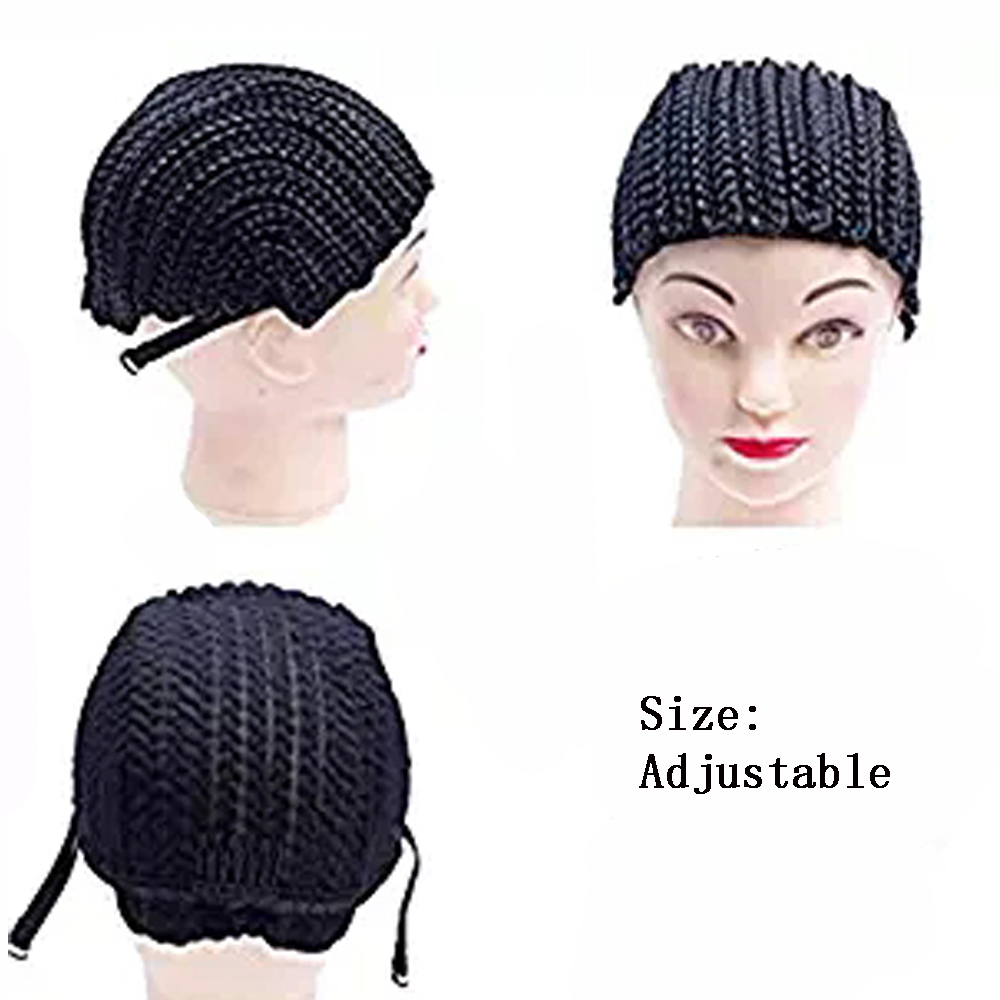 New Cornrow Cap For Weave Crochet Braid Wig Caps For Making Wigs Top Quality Weaving Braid Cap Wig Net Black Color 2PC lot in Hairnets from Hair Extensions Wigs