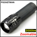 Mini flashlight ZOOMABLE 7W CREE Q5-XPE 2000lm ZOOM Tactical led Flashlight Torch Lamp