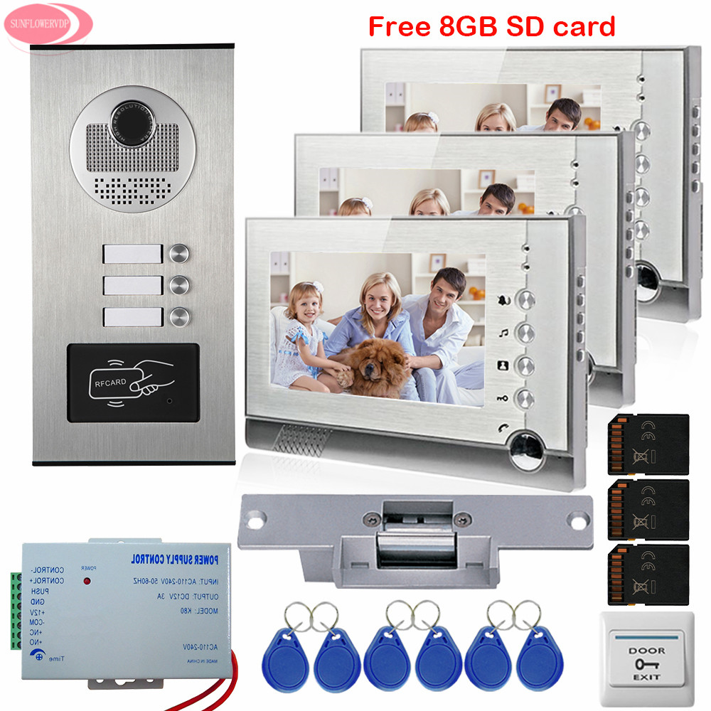 Apartment 7'' Video Intercom With Recording Free 8GB SD Card 3 Monitors RFID Access Door Camera For 3 House+Electric Strike Lock 3 monitors 7 video intercom with reording 8gb tf memory cards intercom door rfid camera for 3 apartments electric strike lock