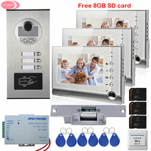 """Apartment 7"""" Video Intercom With Recording Free 8GB SD Card 3 Monitors RFID Access Door Camera For 3 House+Electric Strike Lock"""