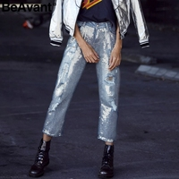 BeAvant 2018 Spring sequin ripped jeans women Streetwear hole zipper fringe jeans pants Summer casual loose denim trousers femme
