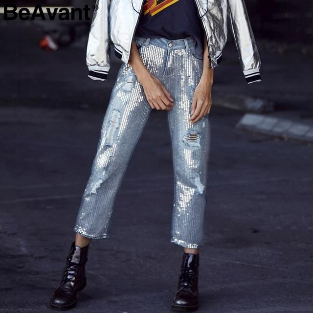 ff3bdb05f6 BeAvant 2018 primavera lentejuelas rasgado jeans mujeres Streetwear agujero  cremallera flecos pantalones vaqueros verano casual pantalones