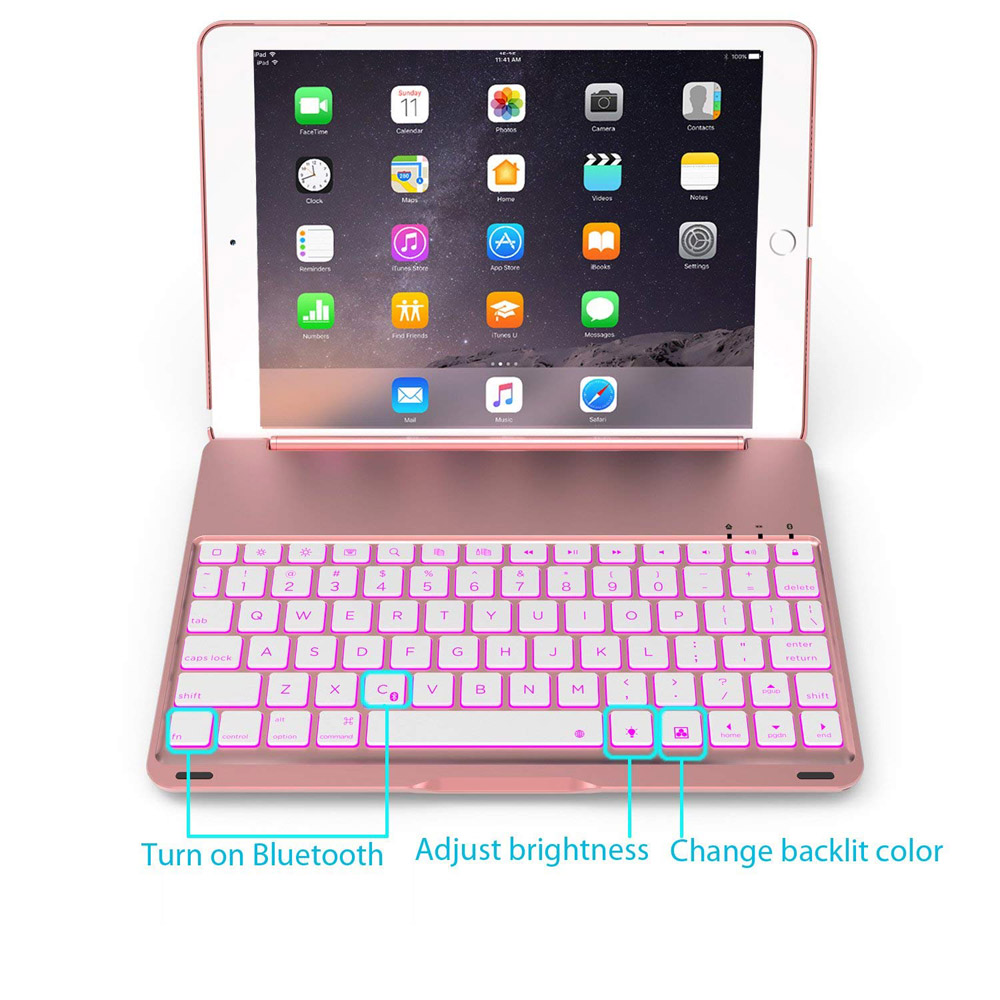 New 7 Colors Backlit Light Wireless Bluetooth Keyboard Case For Ipad Pro 10.5 A1701 A1709 &Amp;Aluminum ABS Keyboard+Film+Stylus