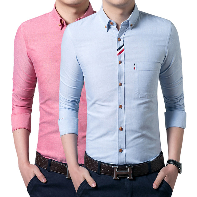 Mens Dress shirt white single breasted cotton poplin business shirts Male long sleeve pink shirts grey white blue blue slim fit