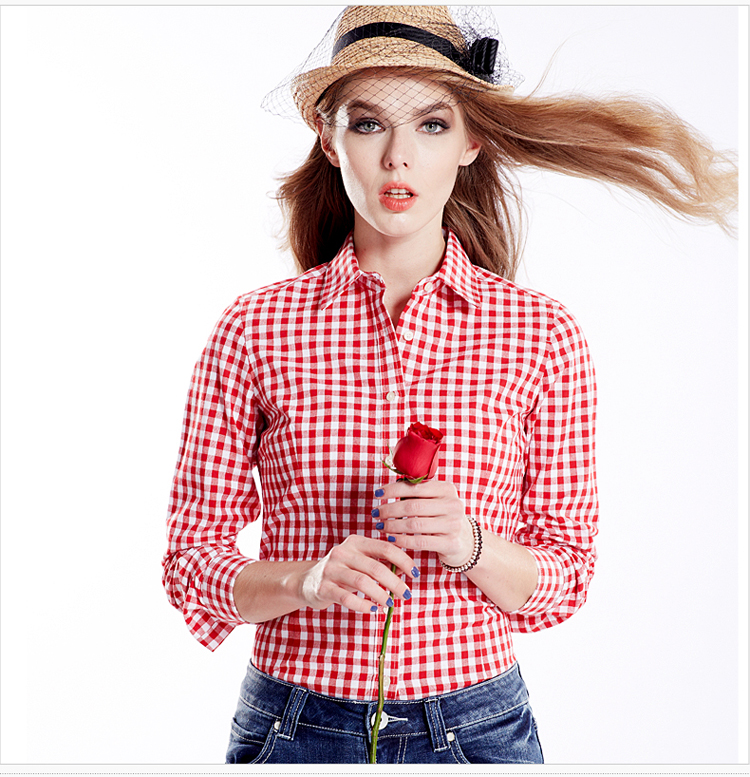 2016 New Autumn Spring Women Casual Plaid Shirt Long Sleeve Red ...