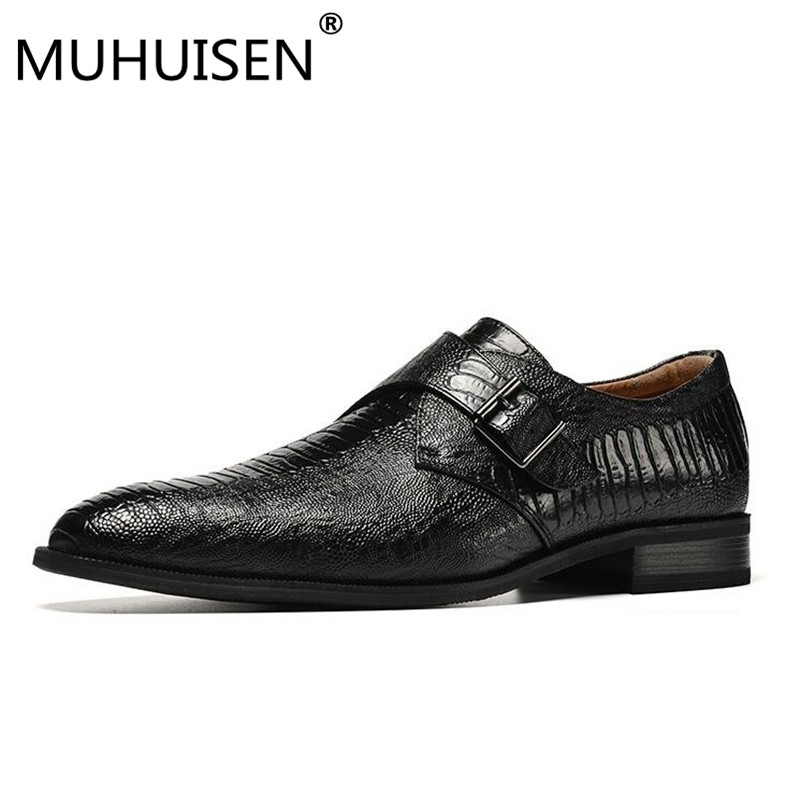 MUHUISEN Plus size 39-48 men shoes big size handsome comfortable brand men dress shoes black