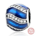 Luxury 100% 925 Sterling Silver Blue Wave Charm Beads WIth Clear CZ Fit Original Pandora Bracelet Pendant Authentic Jewelry Gift