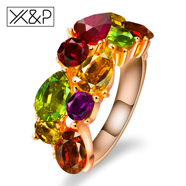 X&P Fashion Rose Gold Mona Lisa Ring for Women Girl Wedding Unique Design with A