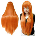 Women's Orange Wig Long Hair Wigs With Bangs Wig Cosplay Straight Wig HB88