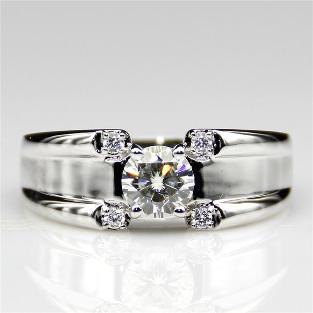 Raíces grand banda 1ct ascd simulado diamante redondo de plata de ley 925 4 puntas acentos placa de platino hombres wedding band
