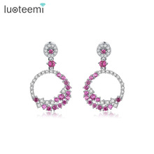 LUOTEEMI  Europe Style Round Drop Earrings Fashion Accessories Tiny Shining CZ Crystal Dangle Brincos for Women Wedding Jewelry