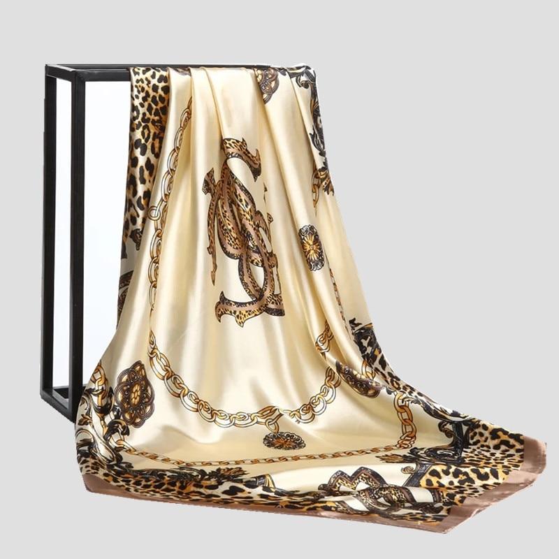 Women Silk Scarf Euro Leopard Print Square Head Scarves Wraps Luxury Brand Quality Female Foulard Satin Shawls Hijab 90*90cm