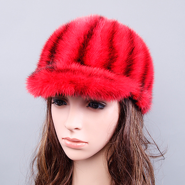 e2afd790299 Winter Hats Women With Natural Real Fur Female Cap Mink Fur Real Knitted  Caps Pineapple Hat