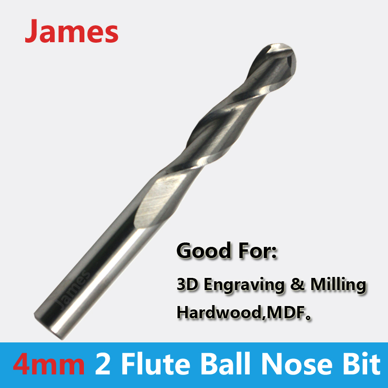 1pc 4mm SHK BALLNOSE CNC Router End Mills round bottomed end Milling Cutter ball nose engraving bits