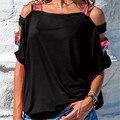 Женская свободная футболка с открытыми плечами, винтажная туника с принтом в стиле бохо, однотонные топы с короткими рукавами, Лидер продаж