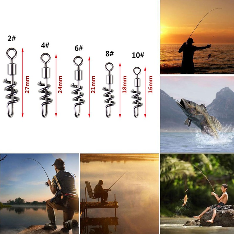 20pcs/set Fishing Quick Connector Copper (Swivels) With Screwed Snap Stainless Steel 8 Shaped Connector Corkscrew Swirl Fishing