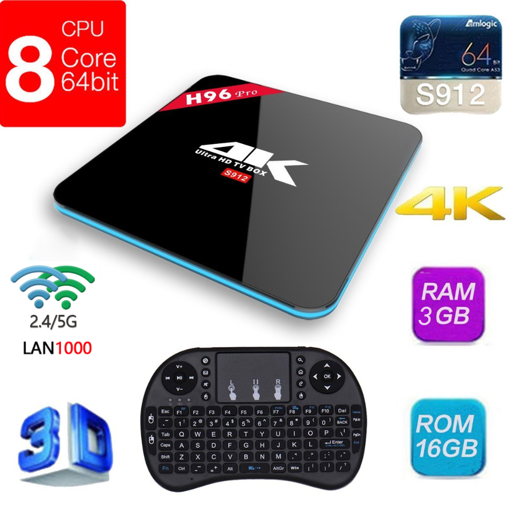 H96 Pro Android Tv Box 3GB 16GB Amlogic S912 Octa Core Android 7.1 2.4G/5GHz Wifi HD2.0 4K HDR 1000M LAN BT4.0 Box TV r tv box pro amlogic s912 android 6 0 4k 60fps tronsmart tsm01
