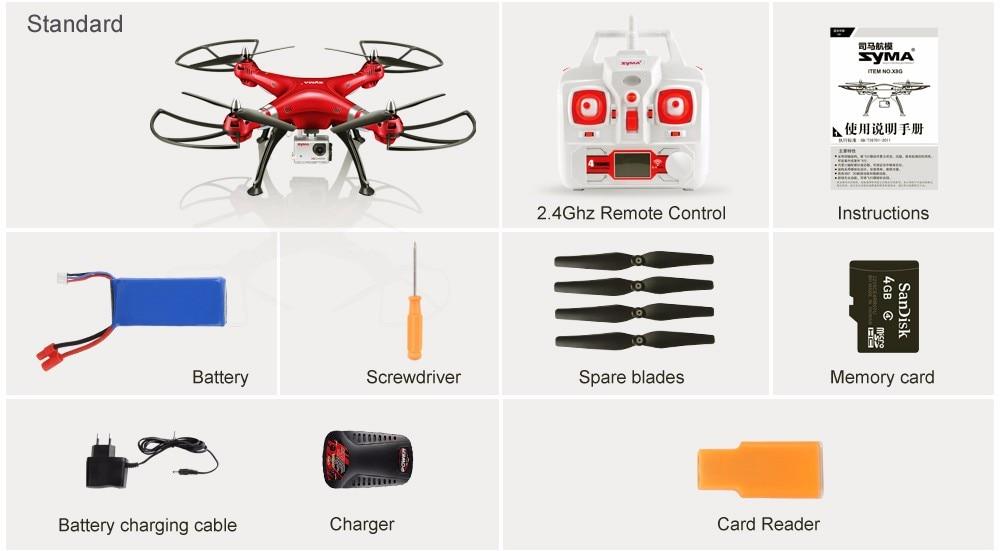 SYMA Professional UAV X8HG X8HW X8HC 2.4G 4CH RC Helicopter Drones 1080P 8MP HD Camera Quadcopter (SYMA X8C/X8W/ X8G Upgrade) 8