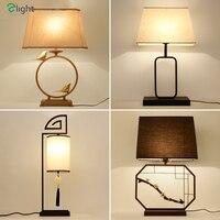 Китайский ретро из металла E27 LED Настольная лампа Блеск латунь птица Спальня свет таблицы Стол Lights простой светодиодные настольные Освещени