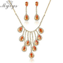 Mytys Fashion Jewelry sets Orange Crystal Pendant Necklace Earrings sets N1335