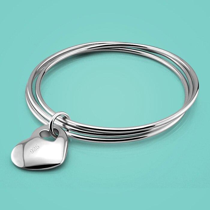 925 mincovní stříbro náramek pro ženy. Výstřih Přívěsek ve tvaru srdce, holky Náramek se třemi prsteny Pevný stříbrný náramek