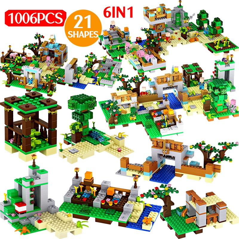 Confident 1006pcs My World Village Building Blocks Legoingly Minecrafted Village The Tree Figures Bricks Educational Kids Christmas Toys Delicious In Taste Model Building