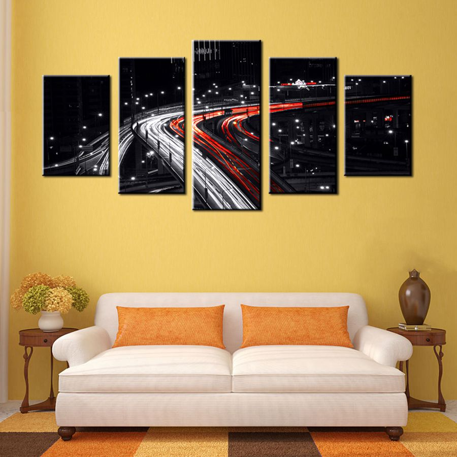 Cityscape White and Red Speed Car Light in the Black Background Cool ...