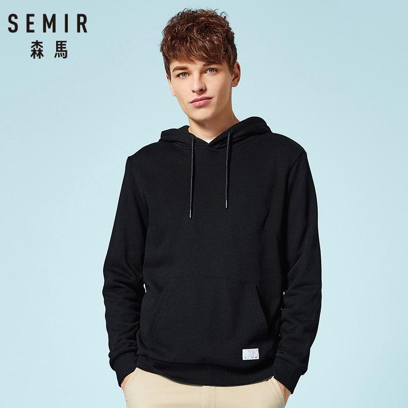 SEMIR Hoodies Men 2019 New Autumn Fashion Solid Hooded Sweatshirt For Man Casual Warm Fleece Hoody Tracksuit Brand Clothing