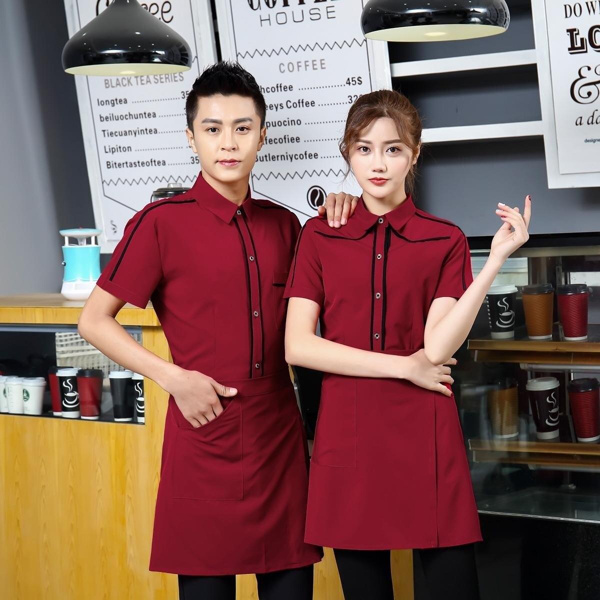 Short Sleeve Restaurant Waiter Uniform Stand Collar Coffee Shop Waitress Uniform Waitress Overalls Food Fast food Work Wear 90