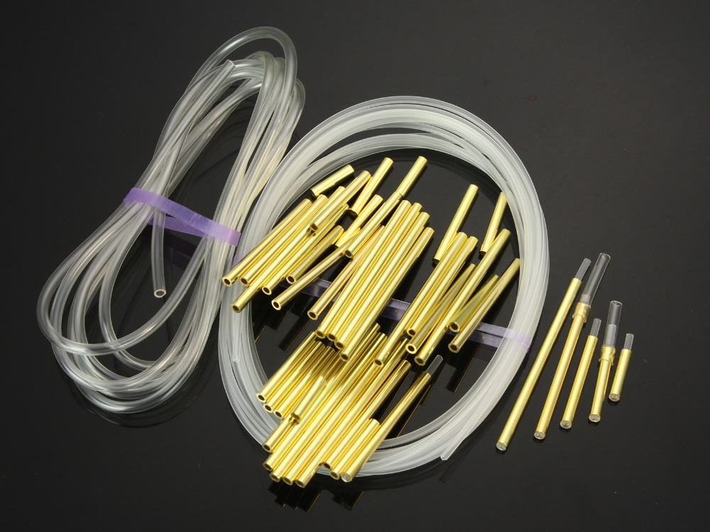 Brass Metal Tubes Fly Tying Materials US Tubes+Liner Tube+Junction Tubeing-60pcs per pack (Gold )