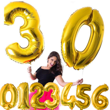 1PC 16/32/40 3 Sizes Figures Foil Gold&Silver Number Balloon Float air Inflatable Balls For Birthday Party Wedding Decoration