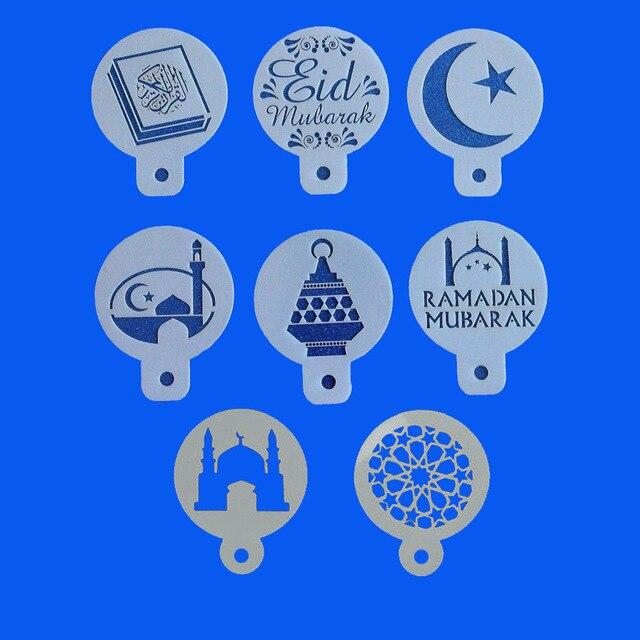 1 set PET Moskee Eid Mubarak Ramadan Ontwerp Koffie Stencils, laser cut cookie Koekjes fondant taart decoratie gereedschappen