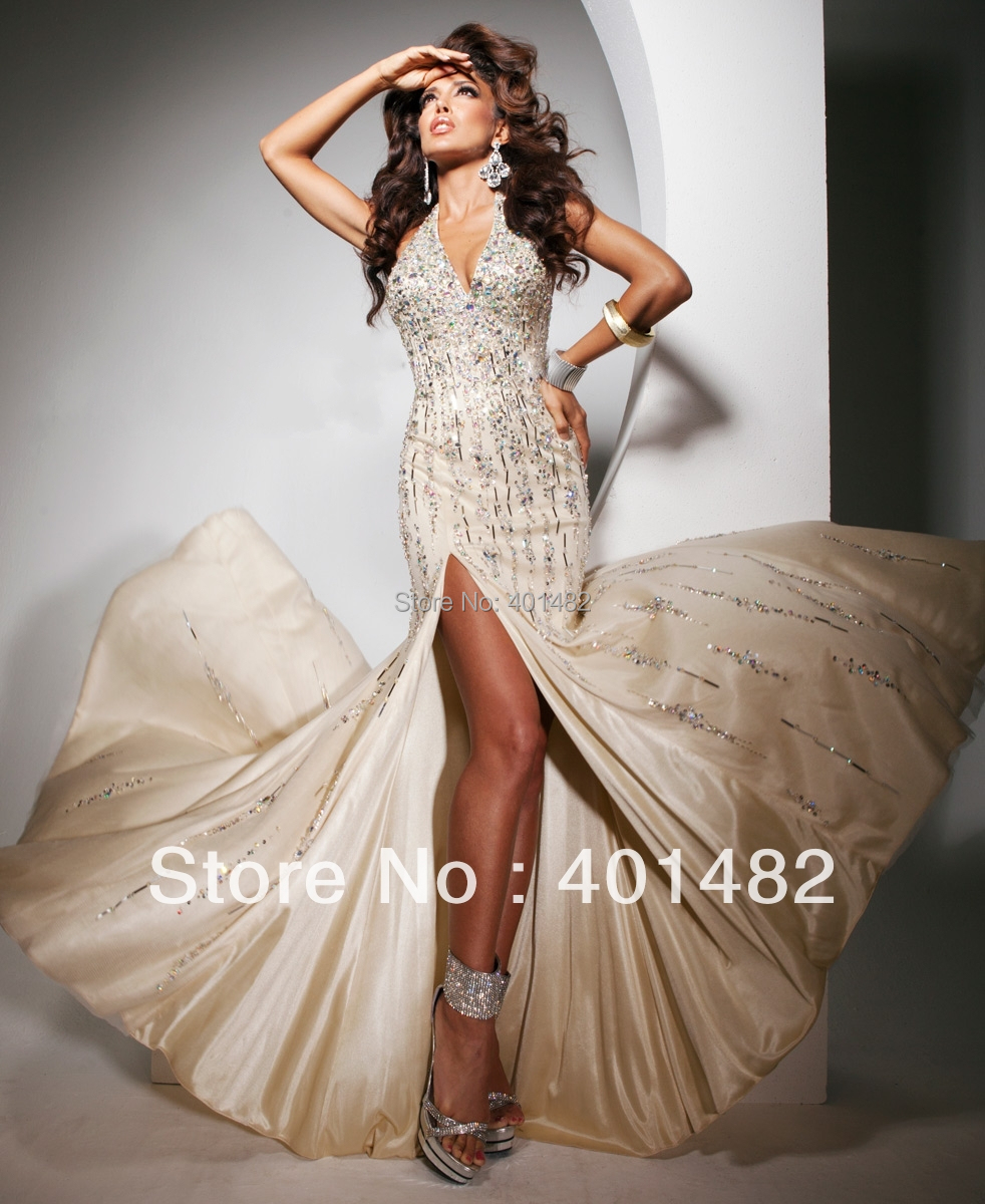 Style! Real Sample Halter A-Line V-Neckline Beaded Satin Evening Gown - Elaine Fashion --- 100% Satisfaction store