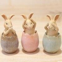 Set of 3 Rabbits Resin Decorative Arts Christmas Gift