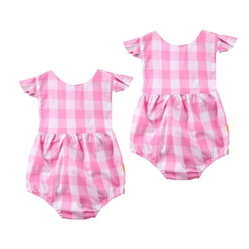 Hot Sale Newborn Baby Folding Romper 2018 Summer Baby Girls Cotton Pink & White Plaid Romper Outfits Newest Colored Dots Romper