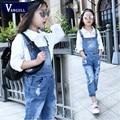 2016 pantalones de algodón lavado de ropa Para Niños de moda de Corea primavera chica overol de mezclilla agujero pantalones mojados de comercio exterior