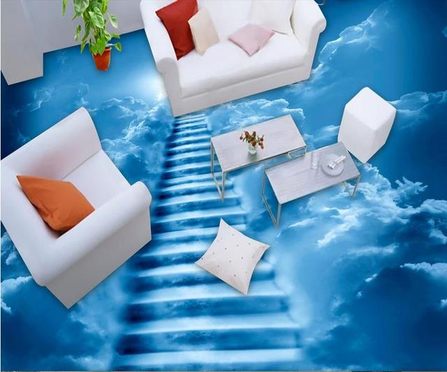 Lantai vinyl perekat Kustom pvc wallpaper Awan tangga 3d lantai