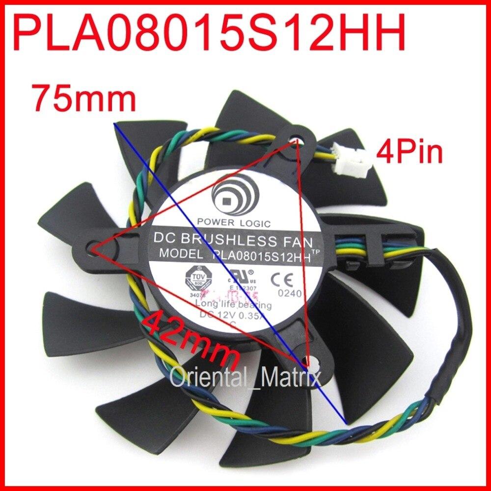 Livraison Gratuite PLA08015S12HH 12 V 0.35A 75mm 42x42x42mm VGA Ventilateur Pour MSI R4770 R6850 Carte graphique Ventilateur 4Pin 4 Fil