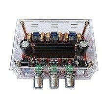 Placa de Amplificador de potência TPA3116D2 2×50 w + 100 w DC 12 v-24 v 2.1 Canal Digital subwoofer com caixa transparente