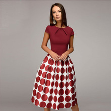 2019 New Vintage Women Wave Point Dress Hot Sale Short Sleeve Patchwork A-line Casual Spring Summer Vestidos