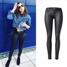 ChoosyVirgo Black woman PU Leather Skinny Pants Female sexy low waist Faux Leather Trousers pencil pants