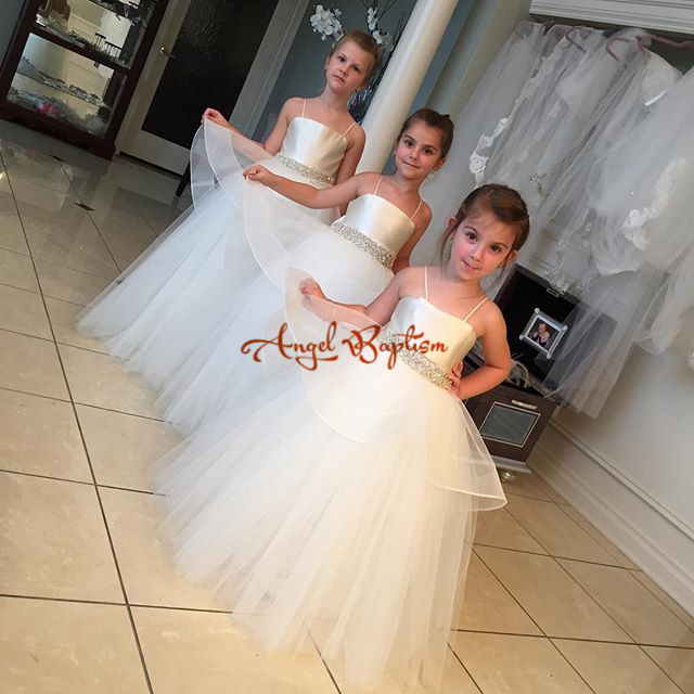 2016 Puffy Flower Girl Dresses for wedding 1 year Ball Gowns First communion dresses for girls pageant dresses Kids Evening Gown 2017 best selling custom first communion dresses for girls ball gown white lace with bow flower girl dresses kids pageant gowns